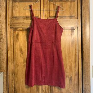 Faux Suede Maroon Dress